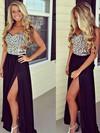 Ladies Sweetheart Split Front Chiffon with Beading Black Prom Dress #JCD02016065