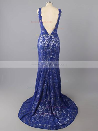 Trumpet/Mermaid Open Back V-neck Appliques Lace Royal Blue Lace Prom Dresses #JCD02016054