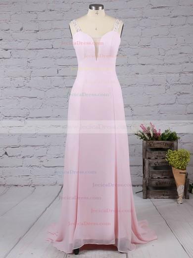 Pink Silk-like Satin Sweep Train Beading Open Back V-neck Prom Dresses #JCD02016058