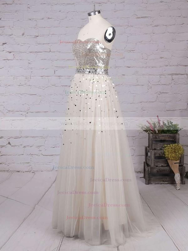 Tulle Sequined Princess Sweetheart Sweep Train Rhinestone Prom dresses #JCD02016059