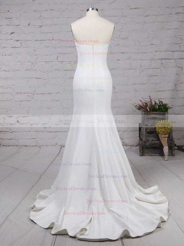 Silk-like Satin Trumpet/Mermaid Strapless Sweep Train Ruffles Prom dresses #JCD02016264