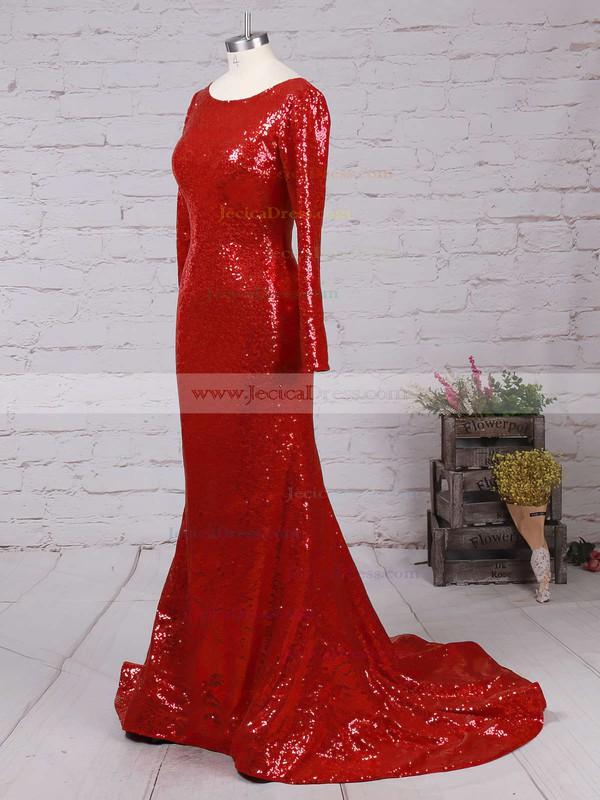 Sequined Trumpet/Mermaid Scoop Neck Sweep Train Ruffles Prom dresses #JCD02016266