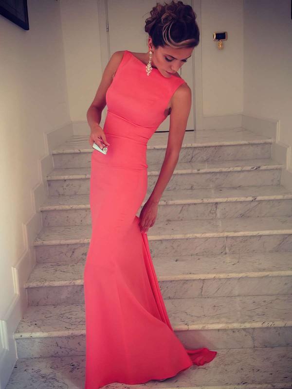 Silk-like Satin Trumpet/Mermaid Scoop Neck Sweep Train Ruffles Prom dresses #JCD02016324