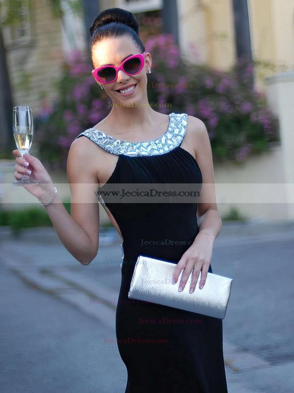 Trumpet/Mermaid Backless Scoop Neck Jersey Crystal Detailing Dark Navy Prom Dress #JCD02016327