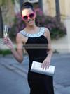 Silk-like Satin Trumpet/Mermaid Scoop Neck Sweep Train Rhinestone Prom dresses #JCD02016327