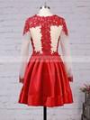 Elastic Woven Satin Tulle Scoop Neck Appliques Lace Long Sleeve Short/Mini Prom Dresses #JCD02016430