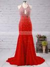 Elegant Trumpet/Mermaid Open Back Beading Chiffon Halter Red Prom Dress #JCD02016783