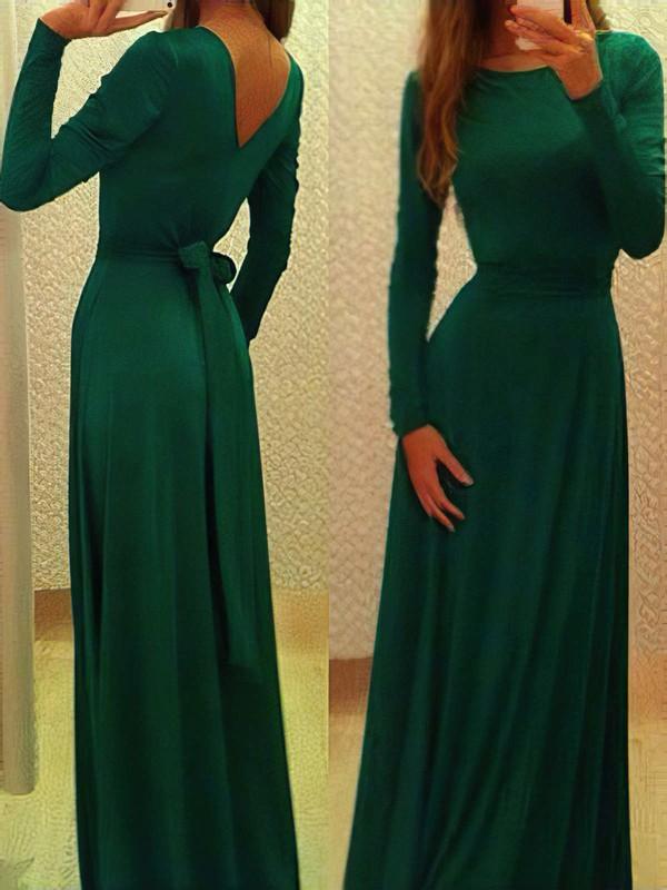 Dark Green Scoop Neck Silk-like Satin Wholesale Long Sleeves A-line Prom Dresses #JCD02016785