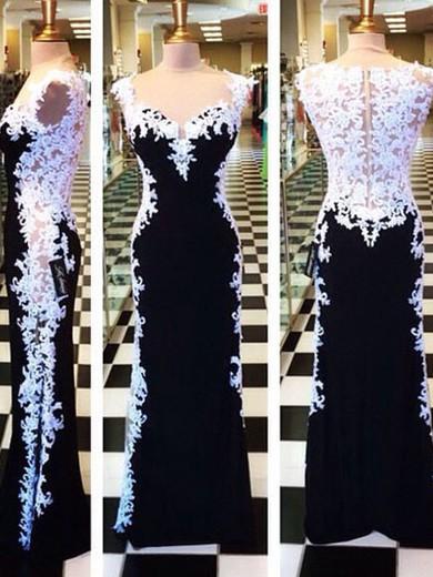 Unique Multi Colours Chiffon Tulle with Appliques Lace Sheath/Column Prom Dress #JCD02016792