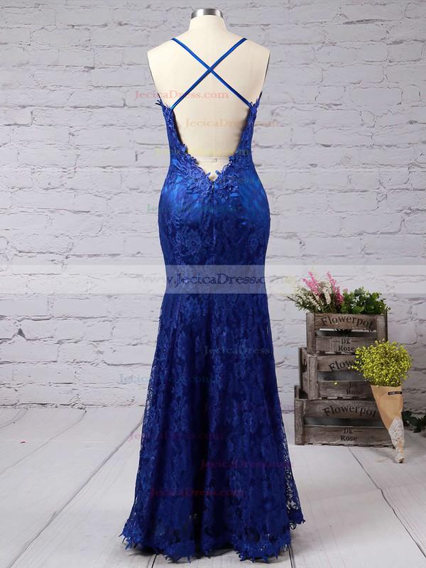 Spaghetti Straps Trumpet/Mermaid Open Back Modest Royal Blue Lace Prom Dress #JCD02016794