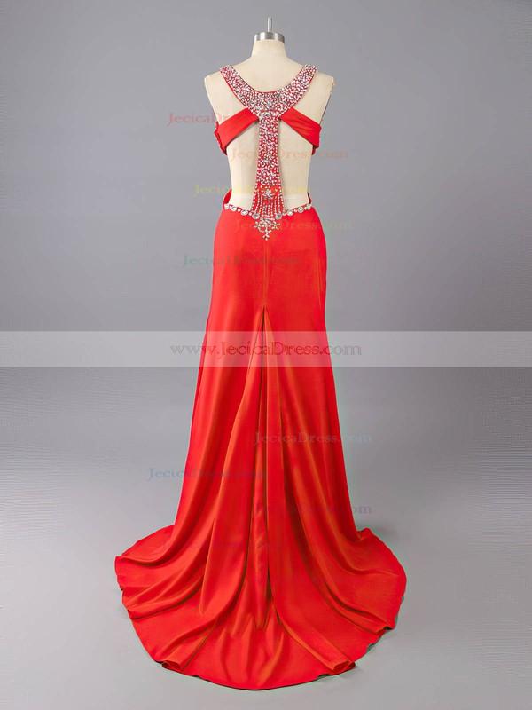 Best Sweetheart Backless Silk-like Satin Beading Split Front Red Prom Dresses #JCD02016836