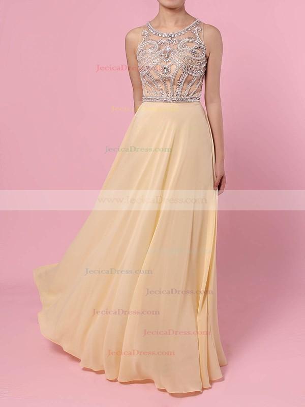 Junior Scoop Neck Crystal Detailing Chiffon Tulle Dark Navy Prom Dress #JCD02016841