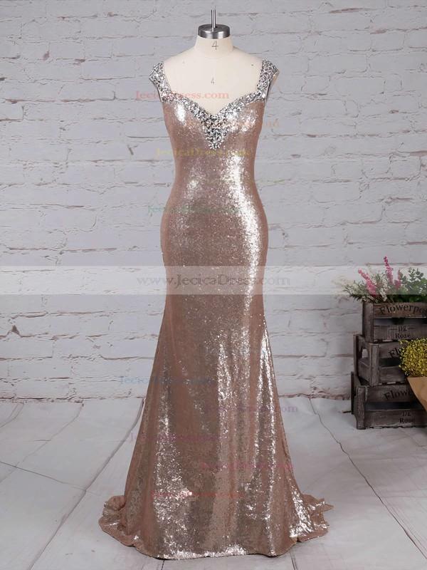 Sequined Trumpet/Mermaid V-neck Sweep Train Beading Prom dresses #JCD02016911