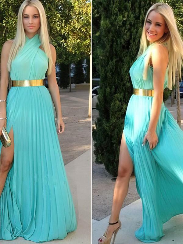 Chiffon A-line Halter Floor-length Split Front Prom dresses #JCD02016920