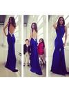 Watteau Train Open Back Crystal Detailing Royal Blue Silk-like Satin Prom Dress #JCD02016922