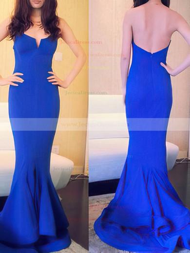 Trumpet/Mermaid Girls Satin with Split Front Strapless Royal Blue Prom Dress #JCD02016937