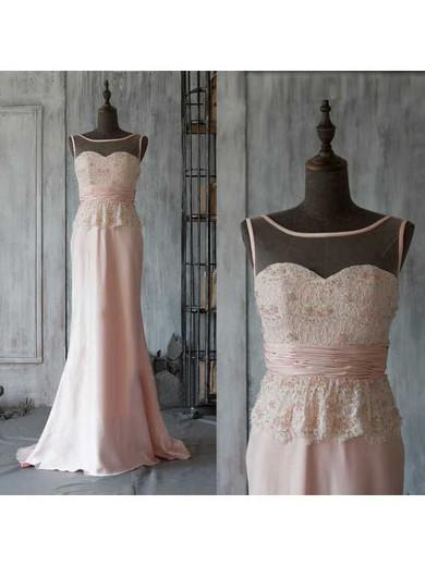 Sheath/Column Pink Chiffon Sequins Scoop Neck Sweep Train Prom Dresses #JCD02018165