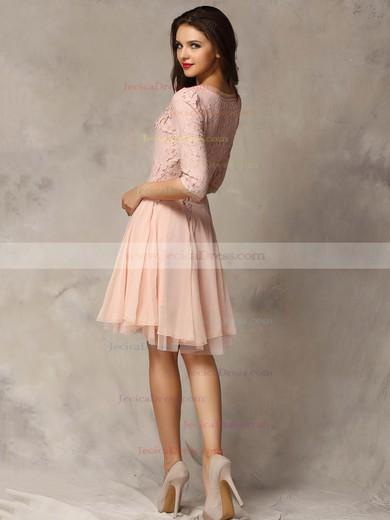 Lace Chiffon Tulle A-line Scoop Neck Short/Mini Appliques Lace Prom Dresses #JCD02018178