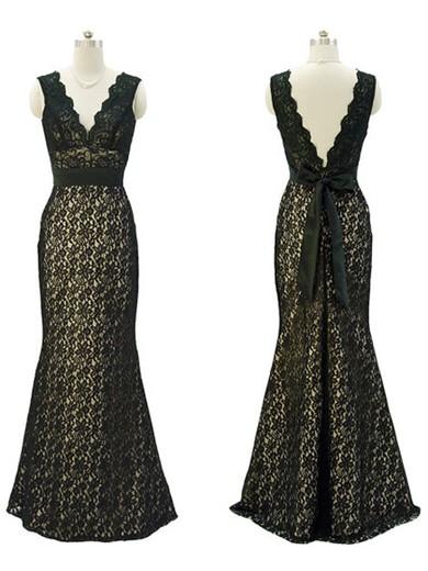 Original Trumpet/Mermaid Lace Sashes / Ribbons V-neck Prom Dresses #JCD02017765