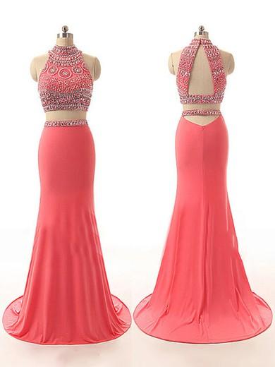 Two Pieces Watermelon Chiffon Beading Trumpet/Mermaid Prom Dresses #JCD02017775