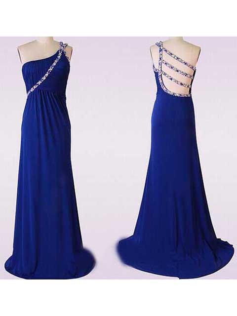 Royal Blue Informal Sweep Train Chiffon Beading One Shoulder Prom Dress #JCD02017621
