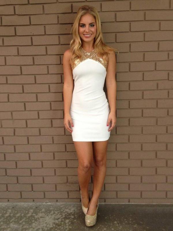 Casual Sheath/Column Silk-like Satin Sequins White Backless Short Prom Dress #JCD02018863