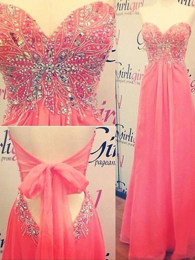 Latest Open Back Chiffon with Beading Sweetheart Watermelon Prom Dress #JCD02018907