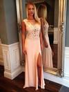 Tulle Silk-like Satin Sheath/Column Scoop Neck Floor-length Appliques Lace Prom Dresses #JCD02018939