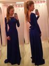 Long Sleeve Scoop Neck Sashes / Ribbons Royal Blue Silk-like Satin Prom Dress #JCD02018955