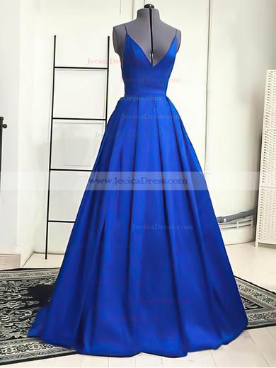 Simple Royal Blue Elastic Woven Satin V-neck Spaghetti Straps A-line Prom Dress #JCD02019053