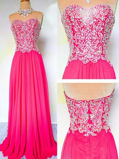 Sweetheart A-line Fuchsia Chiffon with Beading Elegant Prom Dress #JCD02019059