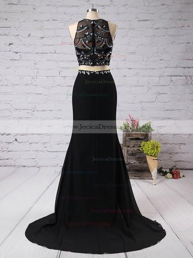 Popular Scoop Neck Chiffon Tulle Beading Sweep Train Black Prom Dress #JCD02019066