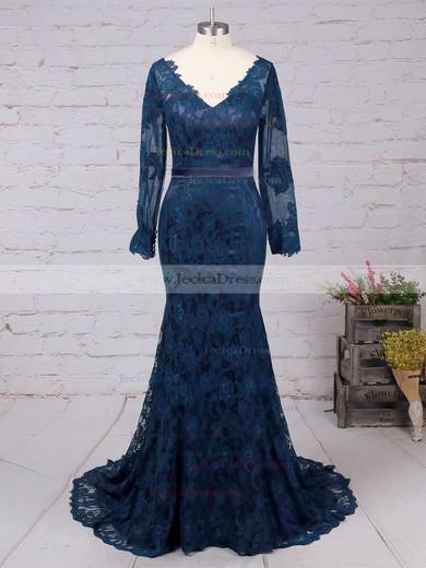 Custom Long Sleeves Lace V-neck Trumpet/Mermaid Dark Navy Prom Dress #JCD02019085