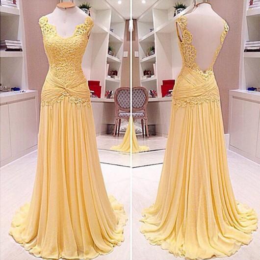 Sweep Train Lace Chiffon Open Back Nice V-neck Prom Dresses #JCD02019089