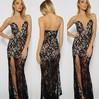 Black Sheath/Column Lace with Split Front Modern V-neck Prom Dress #JCD02019094