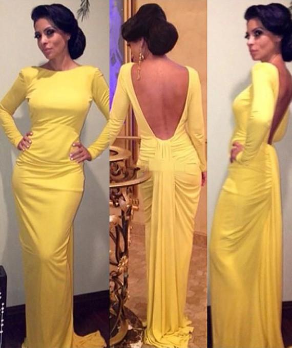 Trumpet/Mermaid Long Sleeve Scoop Neck Silk-like Satin Open Back Yellow Prom Dress #JCD02018681