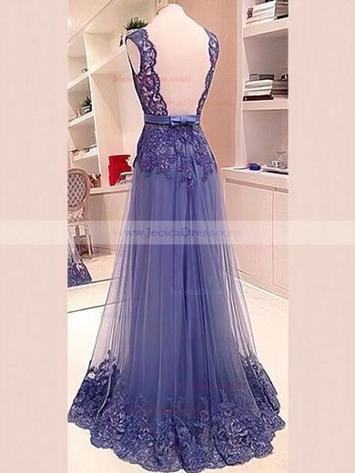 Royal Blue Lace Tulle V-neck Sashes / Ribbons Open Back Floor-length Prom Dress #JCD02018702