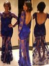 Scoop Neck Trumpet/Mermaid Lace Open Back Vintage Blue Long Sleeves Prom Dress #JCD02018704
