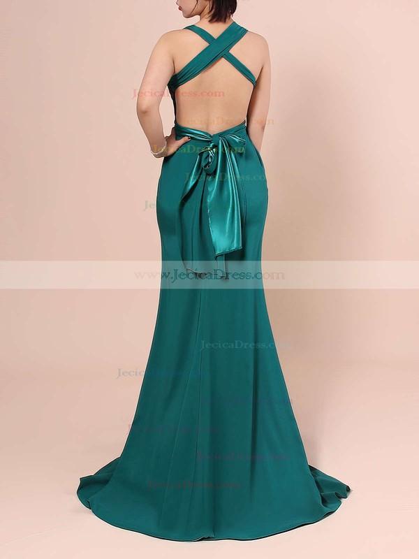Backless Hunter Silk-like Satin with Split Front Sheath/Column Sexy Prom Dress #JCD02018713