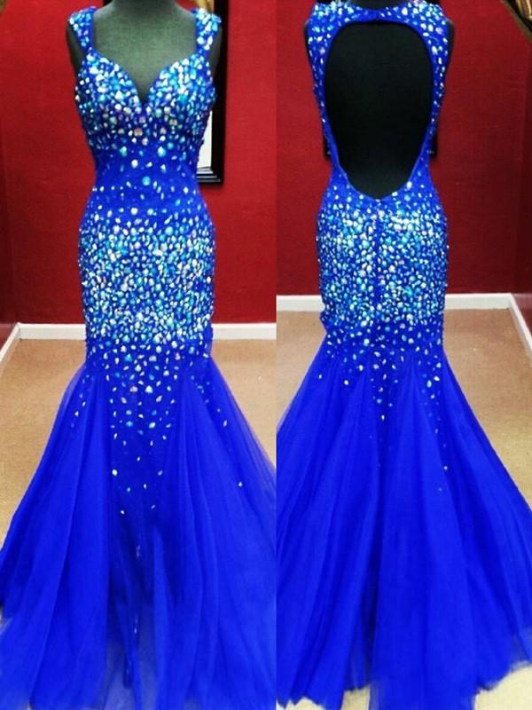 Elegant Royal Blue Tulle Beading Backless Trumpet/Mermaid Sweetheart Prom Dress #JCD02018716