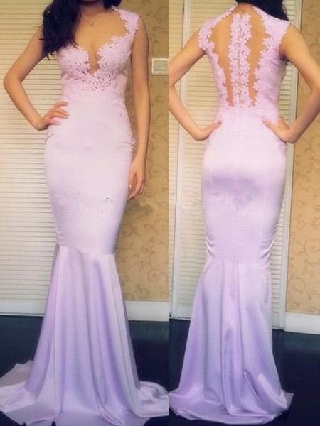 Original Lilac Trumpet/Mermaid Silk-like Satin Applique Lace Scoop Neck Prom Dress #JCD02018728