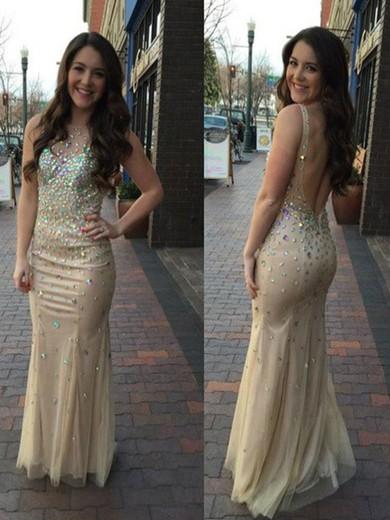 Open Back Sheath/Column Tulle Beading Affordable Scoop Neck Prom Dress #JCD02018729