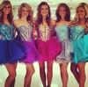Tulle A-line Sweetheart Short/Mini Beading Prom Dresses #JCD02018770