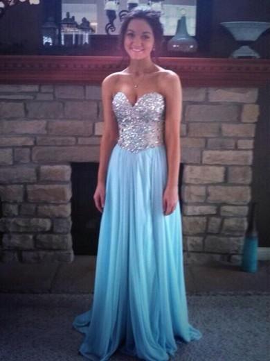 Chiffon A-line Sweetheart Sweep Train Beading Prom Dresses #JCD02018782