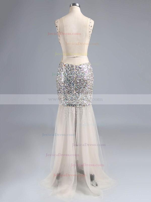 Tulle Trumpet/Mermaid Scoop Neck Floor-length Beading Prom Dresses #JCD02018790