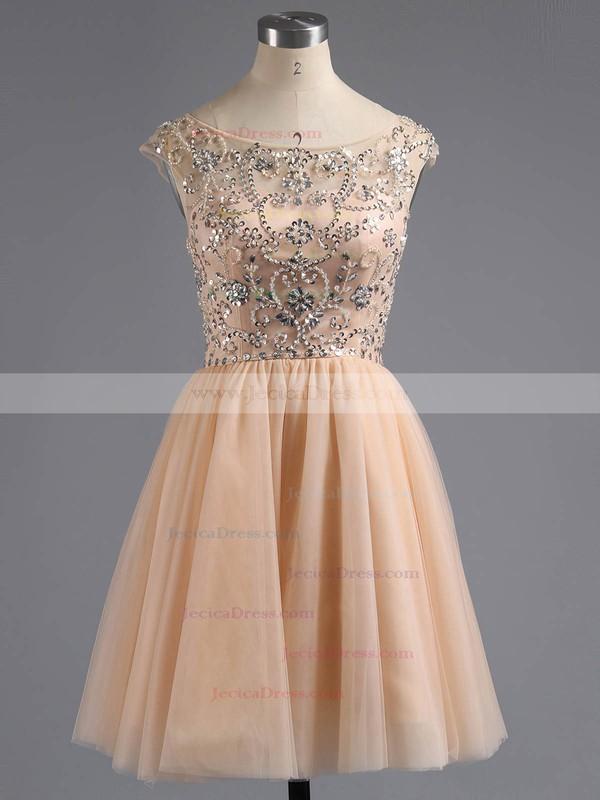 Tulle A-line Scoop Neck Short/Mini Beading Prom Dresses #JCD02018794