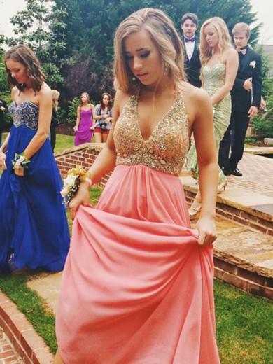 Chiffon A-line V-neck Floor-length Beading Prom Dresses #JCD02018806