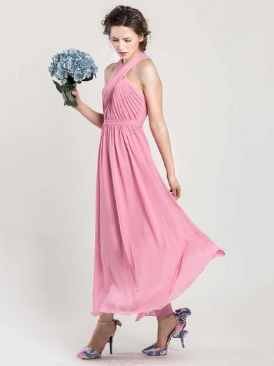 Ankle-length Halter Chiffon Open Back Nice Pink Bridesmaid Dress #JCD01012402
