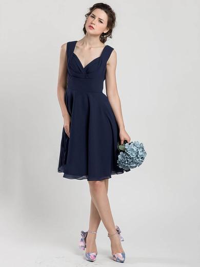 Great V-neck Dark Navy Chiffon Ruffles Knee-length Bridesmaid Dress #JCD01012403