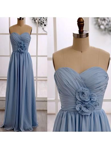 Latest Sweetheart Chiffon Ruffles Floor-length Light Sky Blue Bridesmaid Dresses #JCD01012415